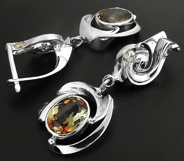 Серебряные серьги с андалузитом натуральным