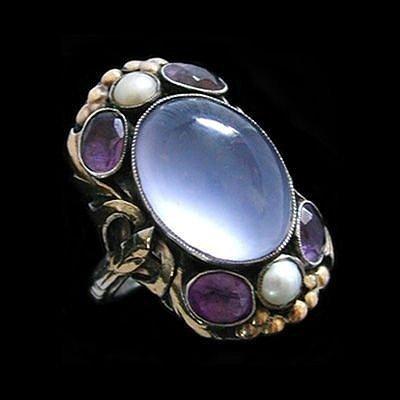 Кольцо серебряное с лунным камнем