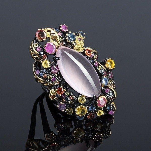 Кольцо с розовым кварцем натуральным