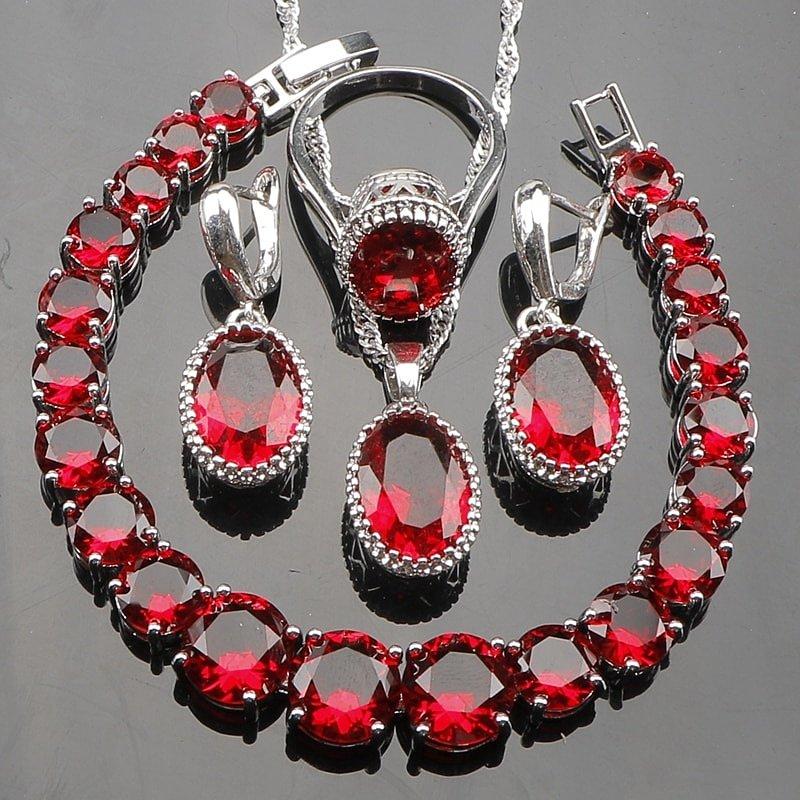 Серебряные наборы с рубинами натуральными